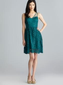 Adrianna Papell Double V Lace Party Dress