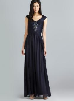 Adrianna Papell Draped Capped Sleeve Beaded Bodice Gown