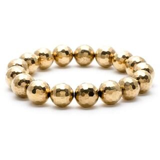 14k Goldplated Onyx Bead Stretch Bracelet
