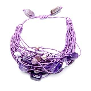 Multi-gemstone and FW Pearl Bracelet (5-6 mm)