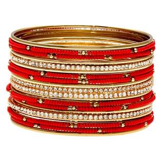 Carolee Gold/ Coral and Cubic Zirconia Bangle Bracelet Set (Set of 20)