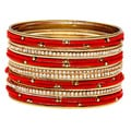 Carolee Gold/ Coral and Cubic Zirconia Bangle Bracelet Set (Set of 20)