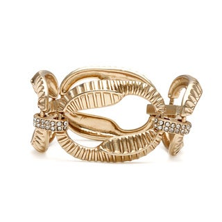 Carolee Goldtone CZ Textured Links Fashion Bracelet