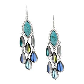ABS Turquoise Tassel Linear Hook Earrings