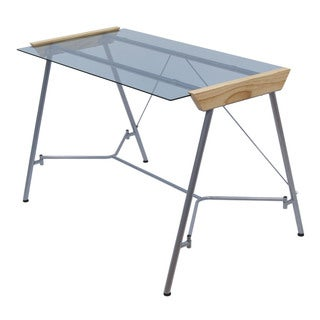 Calico Designs Futura Work Desk with Silver/ Blue Glass