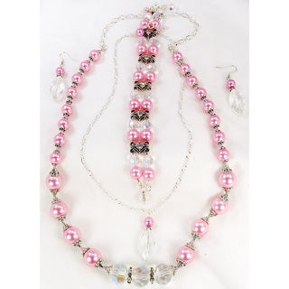 Silverplated Pink Glass Pearl and Clear Crystal Jewelry Set