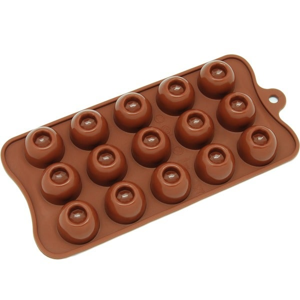 Freshware Brown 15-cavity Round Chocolate and Candy Silicone Mold 11724379
