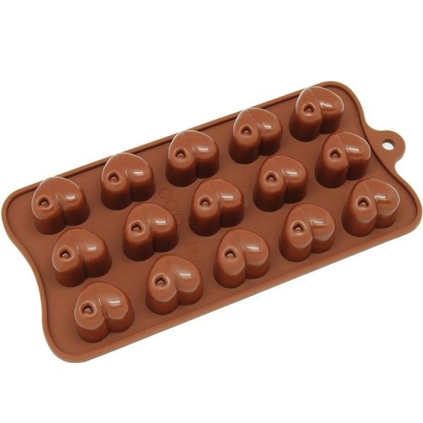 Freshware Brown 15-Cavity Hearts Chocolate and Candy Silicone Mold 11724380