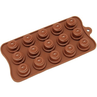 Freshware Brown 15-cavity Spiral Cone Chocolate and Candy Silicone Mold