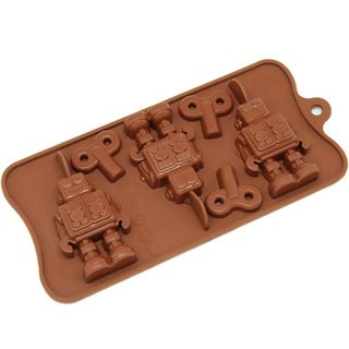 Freshware Brown 6-cavity Robot and Key Chocolate, Candy and Clay Silicone Mold
