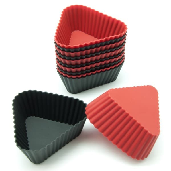 Freshware Red and Black Triangle Silicone Reusable Baking Cup (Pack of 12)