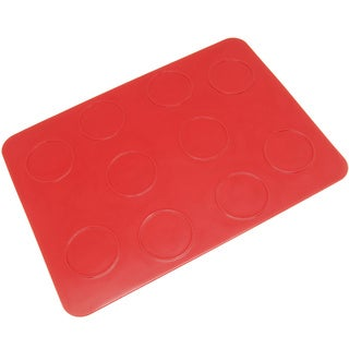 Freshware Red 10-circle Macaron, Whoopie Pie, Cookie and Creme Puff Silicone Mat