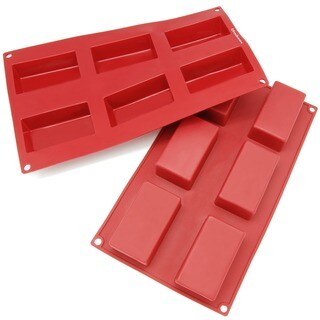 Freshware Red 6-cavity Silicone Rectangular Brownie, Corn Bread, Muffin and Soap Molds (Pack of 2)