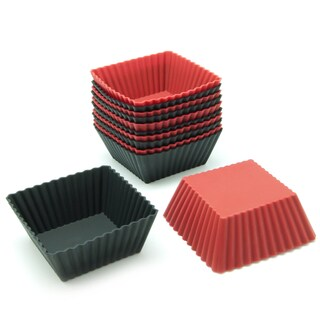 Freshware Red and Black Square Silicone Reusable Baking Cups (Pack of 12)