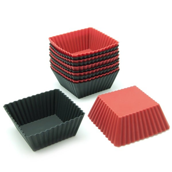Freshware Red and Black Square Silicone Reusable Baking Cups (Pack of 12) 11724753