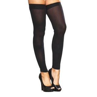 Hustler Lingerie Black Footless Sheer Thigh-high Stockings (2 pairs)