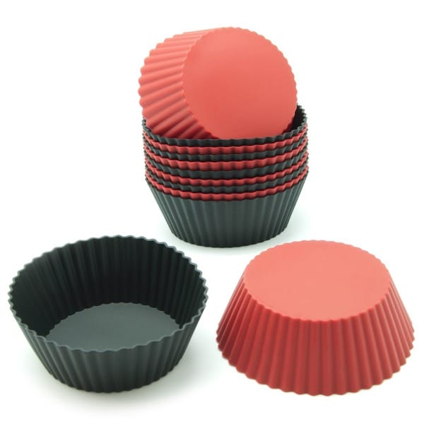 Freshware Red and Black Round Silicone Reusable Baking Cups (Pack of 12) 11724755