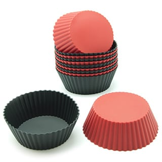 Freshware Red and Black Round Silicone Reusable Baking Cups (Pack of 12)