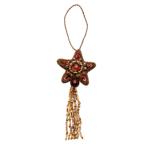 Set of Two Handmade Beaded Hanging Ornaments (India)