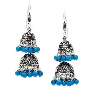 Handmade Silvertone Brass Kundan Blue Bead Chandelier Earrings (India)