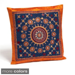 Pakko Hand-Embroidered Raw Silk Pillow Cushion Cover (India)