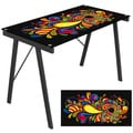 Psychedelic Printed Exponent Tempered Glass-Top Desk