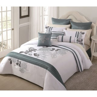 Aqua Bloom 9-piece Embroidered Comforter Set
