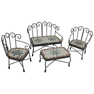 Carolyn Mosaic and Iron Doll Settee Group (Set of 4)