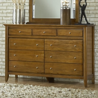 Contemporary Shaker Pecan 9-drawer Dresser