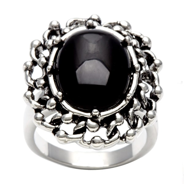 City by City Silvertone Jet Black Cubic Zirconia Ring