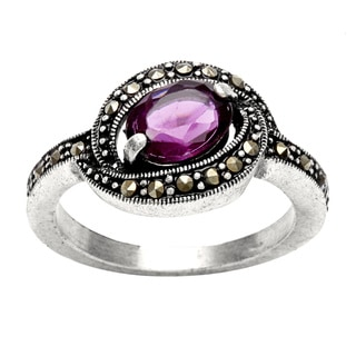 Silvertone Amethyst and Marcasite Antiqued Ring