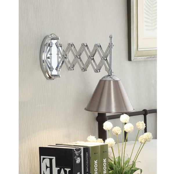 Accordion swing arm 1 light brushed nickel wall lamp for Home interior 5 arm sconce
