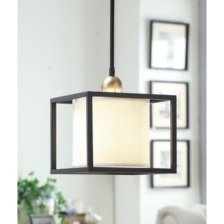 Dark Bronze Metal Frame Drum 1-light Mini Pendant