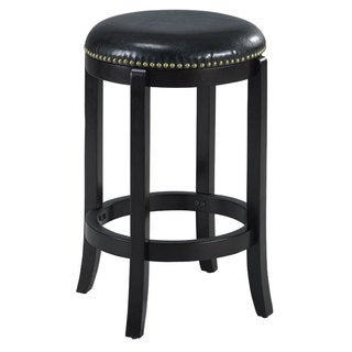 Jackson Bicast Leather Black Swivel Counter Stool