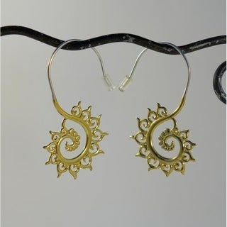 Fibonacci Swirl Tribal Fusion Earrings (Indonesia)