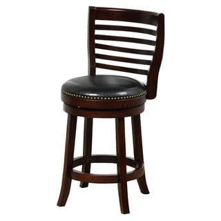 Cappuccino Ladderback 24-inch Bicast Leather Swivel Counter Stool