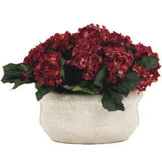 14-inch Silk Hydrangeas and Oval Crackle Ceramic Container