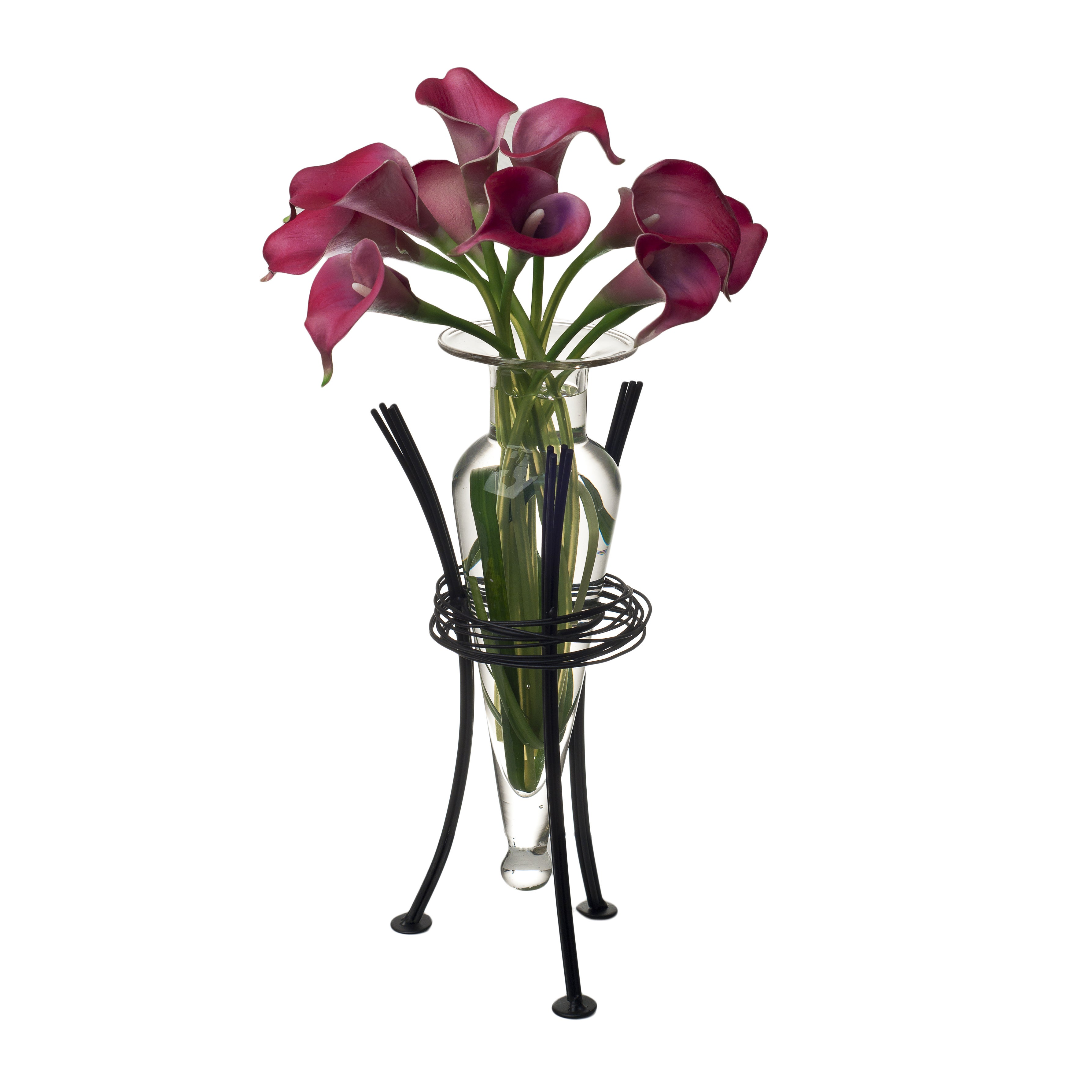 Overstock.com Clear Amphora Vase on Wire Stand at Sears.com