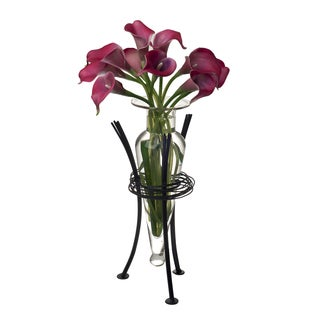 Clear Amphora Vase on Wire Stand