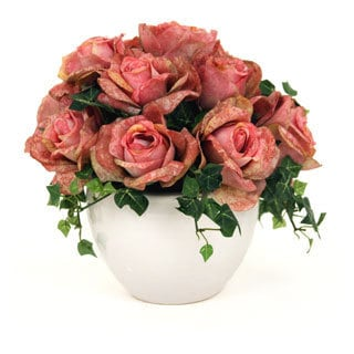 12-inch Silk Roses in a White Ceramic Container