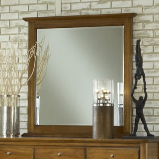 Pecan 'Contemporary Shaker' Beveled Glass Mirror