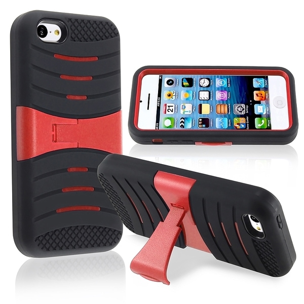 BasAcc Black/ Red Hybrid Case with Stand for Apple® iPhone 5C