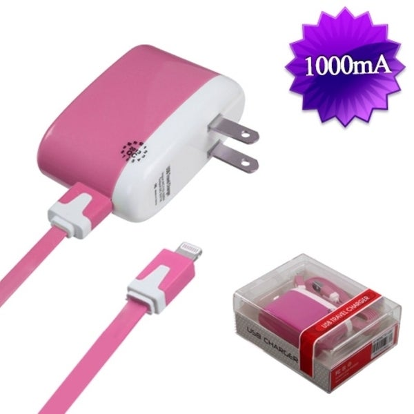 BasAcc 8-pin Pink Travel Charger for Apple iPhone 5/ 5S/ 5C/ iPad Mini