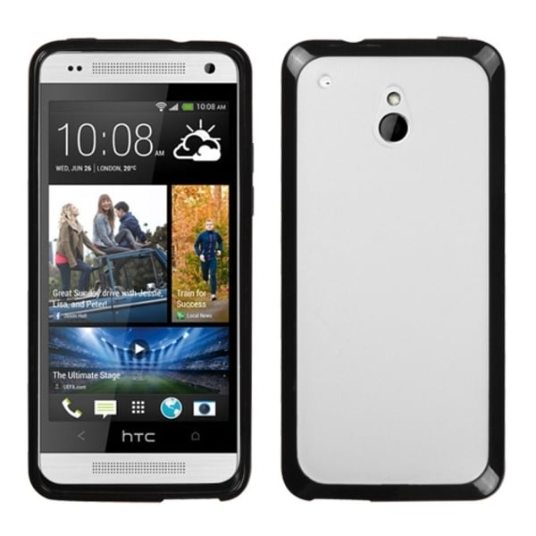 INSTEN Transparent Clear/ Solid Black Gummy Phone Case Cover for HTC One Mini/ M4