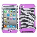 BasAcc Zebra Diamante/ Purple TUFF Case for Apple iPod Touch 4