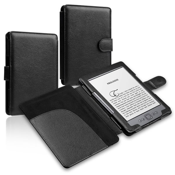 INSTEN Black Leather Phone Case Cover for Amazon Kindle 5