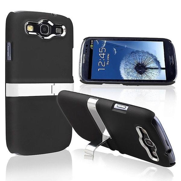 INSTEN Black/ Silver Phone Case Cover for Samsung Galaxy S3/ S III
