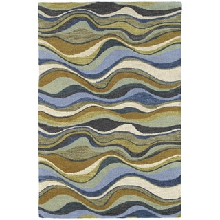 Hand-Tufted 'Manhattan' Blue Waves Rug (7'6 x 9'0)