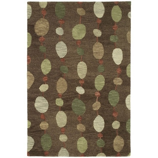 Manhattan Hand-tufted Chocolate Strings Modern Rug (8' x 11')