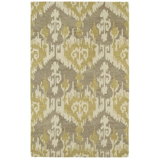 Hand-tufted Manhattan Yellow Ikat Rug (8' x 11')